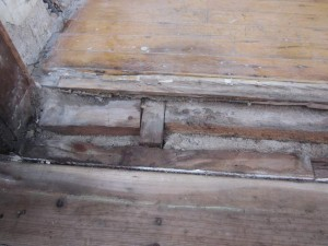 Damaged floor board