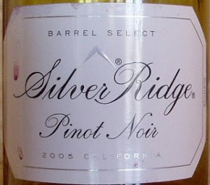 "Wine bottle label that reads ""Silver Ridge Pinot Noir."""