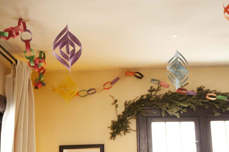 Home made paper christmas decorations