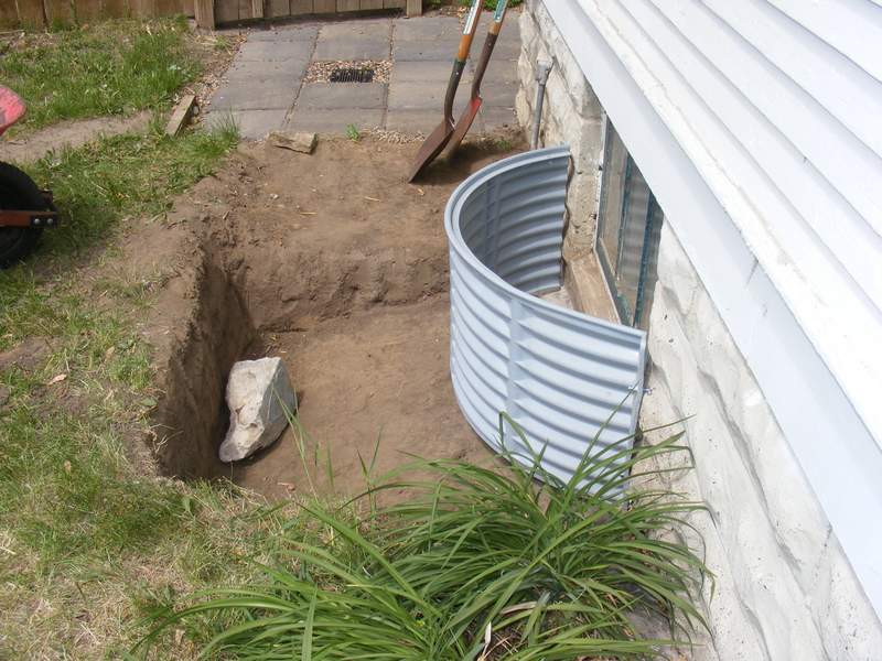 One of the window wells that we installed at the back of the house.
