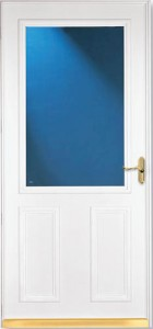 """Storm door with """"screen-away"""" and a keyed lock by Larson (huge improvement)"""