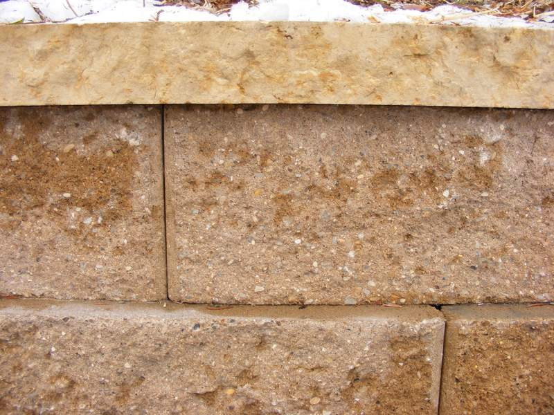 Kasota limestone used to cap a concrete block wall