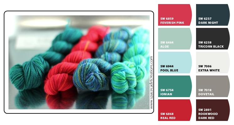 SpaceCadet Creations' unbelievable hand-dyed yarn translated to Sherwin Williams paint colors