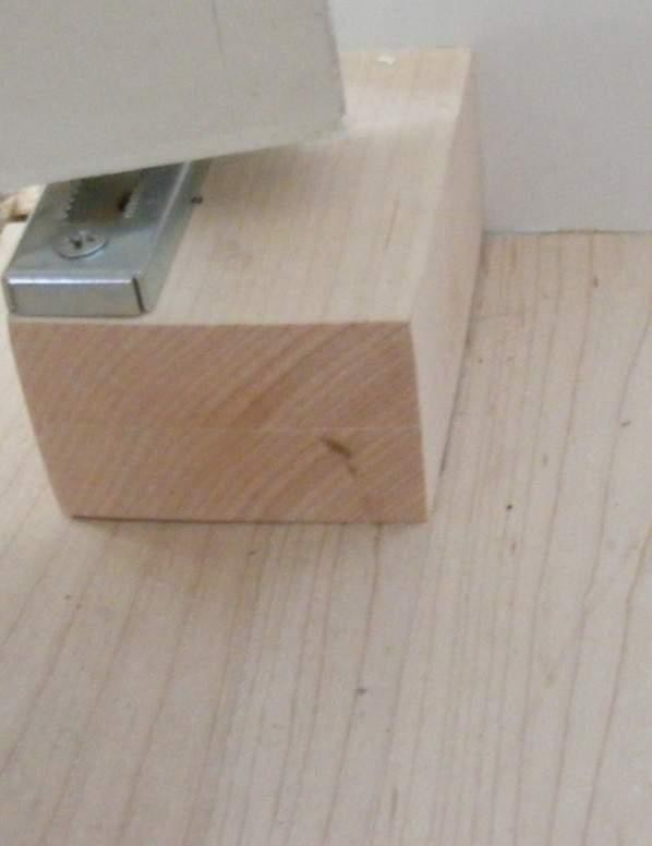 Block of Maple Under Closet Door Hinge Bracket