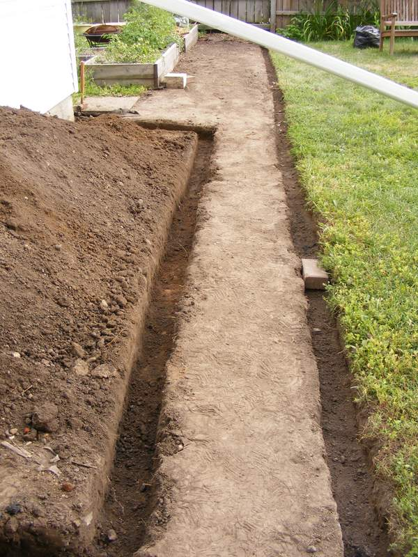 Trench dug for the raised bed wall.