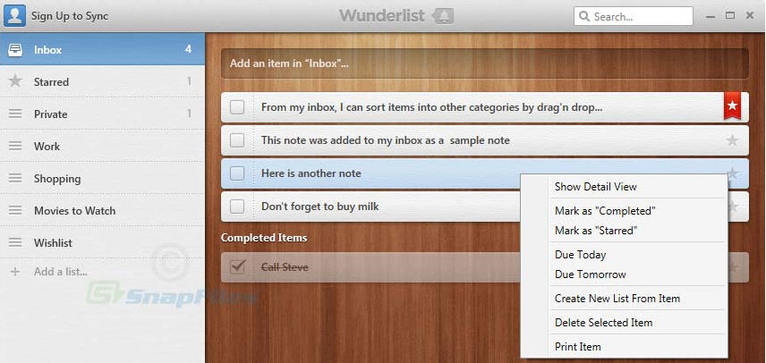 wunderlist screen shot