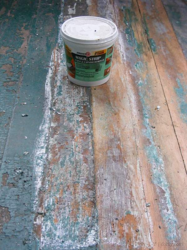 The results of using Zinsser Magic Strip on stripped (right), and unstripped (left) floor boards.