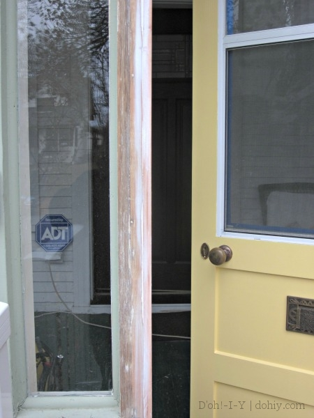 caulked door frame