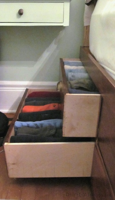 drawers in storage bed