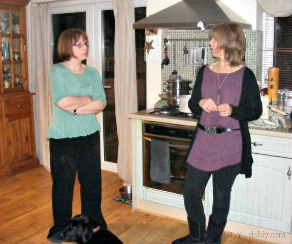 Helen (right) and me talking during dinner preparations a couple of years ago.