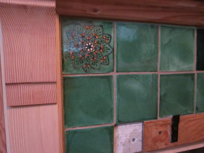 The tiles in place and grouted.