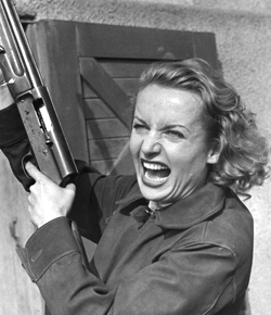 crazy lady shooting gun