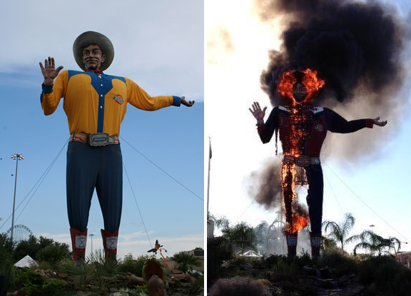 """Big Tex"" at the Texas State Fair burned as the result of an electrical short."
