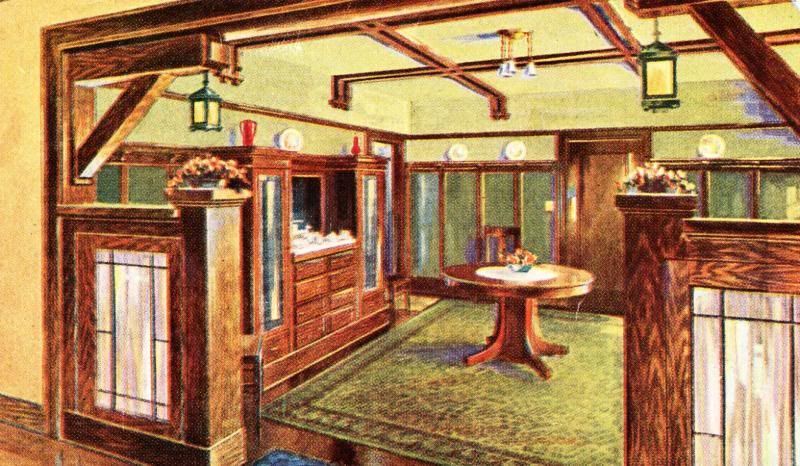 This rendering of a Sears kit house from 1919 shows leaded glass doors in the cabinetry.