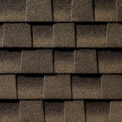 Close up photo of GAF's Timberline HD Barkwood shingle swatch