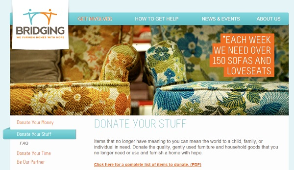 If you are local to MSP, the Bridging furniture bank is a great place to take extra furniture, lamps, and rugs.