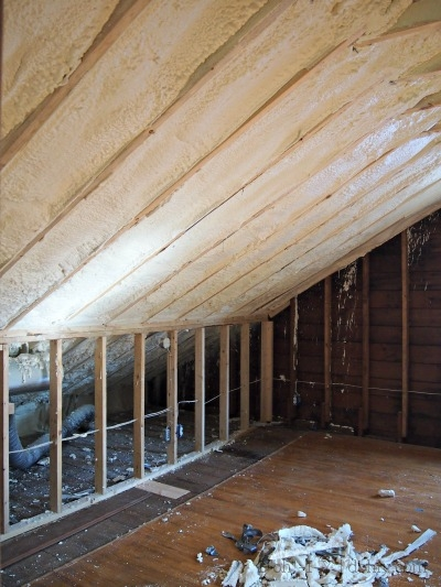 Insulation covers the entire inside of the roof.