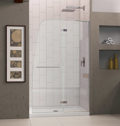Aqua Ultra Hinge Shower Door -- we got ours from Wayfair, and it's well worth signing up for their sale emails and lying in wait for the best price.