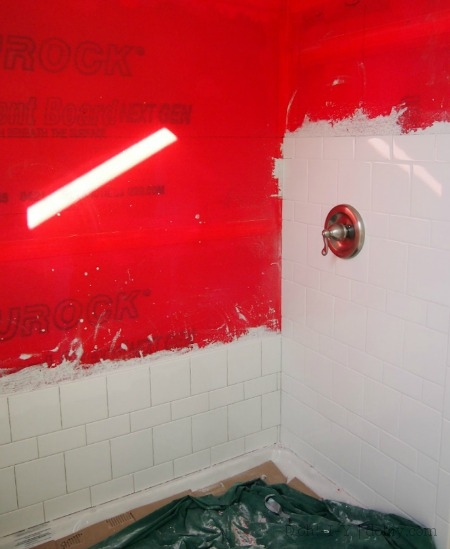 Tiling started for plumber purposes and to line up niche. That's a sunbeam on the wall. I miss the sun.